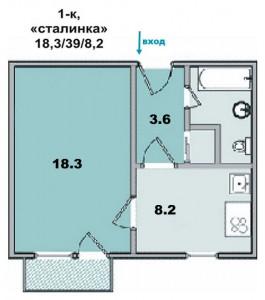 """1 ком. квартира, кирпичный дом, """"сталинка"""""""