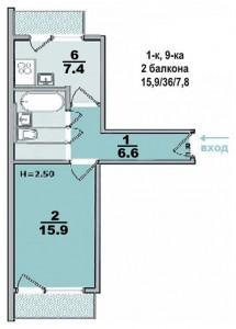 1 ком. квартира, улучшеной планеровки, с двумя балконами