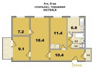 """4 ком. квартира, в панельном доме, """"полька"""" торцевая"""