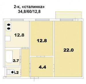 Типовые планы 2 комнатных квартир (12 300x295)