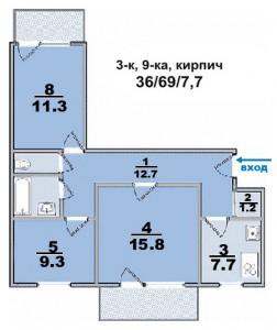 3 ком. квартира, в кирпичном доме, комнаты раздельные с двумя балконами
