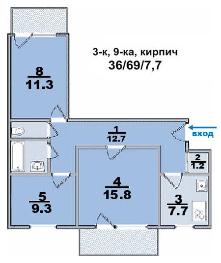 3 ком. квартира, в кирпичном