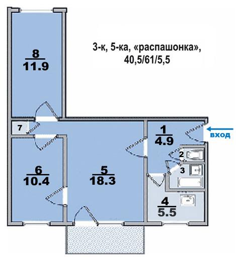 План трехкомнатной квартиры серии П-44 до перепланировки