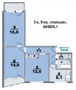 """3 ком. квартира, в панельном доме, комнаты раздельные, """"полька"""""""