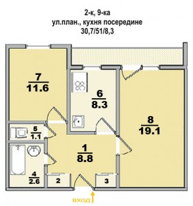 Типовые планы 2 комнатных квартир (14 kopiya 282x300)