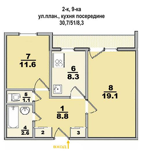 2 ком. квартира, улучшенной