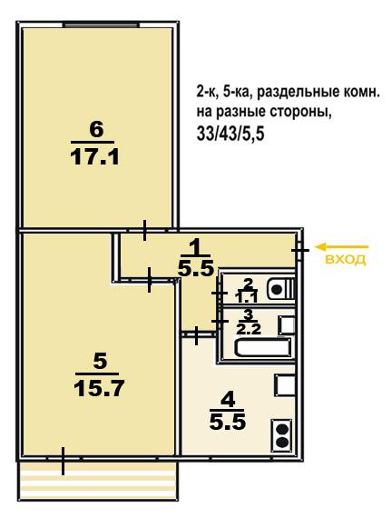 2 ком. квартира, панельный дом