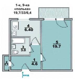 """1 ком. квартира, панельный дом, """"полька"""""""