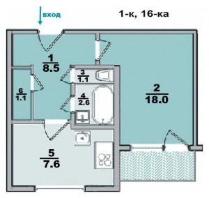 1 ком. квартира, панельный дом, в 16-ти этажке