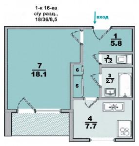 1 ком. квартира, в 16-ти этажке, санузел раздельный