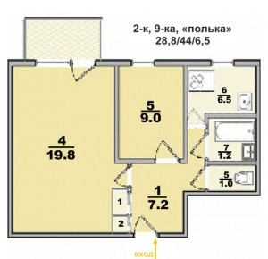 Типовые планы 2 комнатных квартир (4 kopiya 300x290)