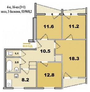 4 ком. квартира, в 16-ти этажке, с квадратным холлом