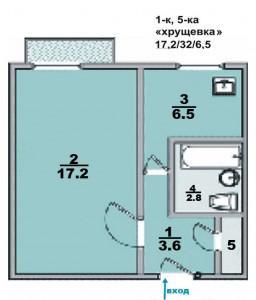 """1 ком. квартира, """"хрущевка"""", панельный дом"""