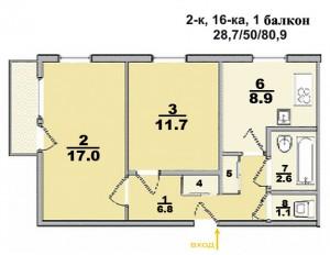 Типовые планы 2 комнатных квартир (52 300x232)