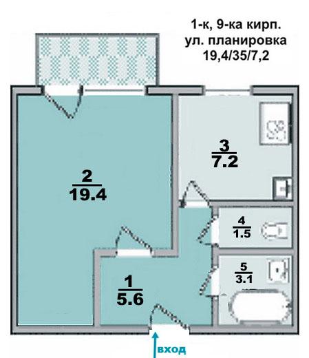 1 ком. квартира, улучшенной