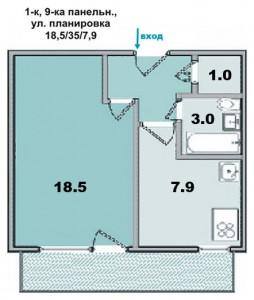 1 ком. квартира, улучшенной планировки и лоджией , в 9-ти этажке