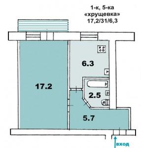 """1 ком. квартира, """"хрущевка"""",Г-образным коридором, панельный дом"""